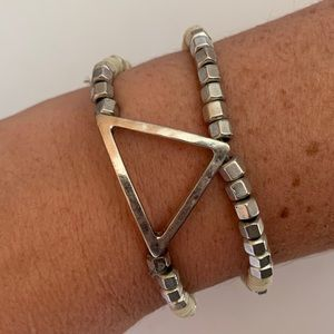 Lucky Brand Silver Beaded Triangle Bracelet
